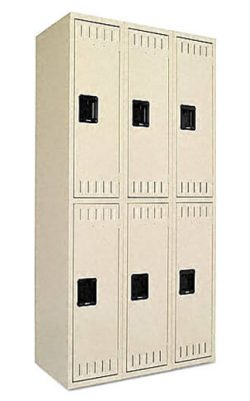 Tennsco Sand Double Tier Locker, Six-Locker Unit